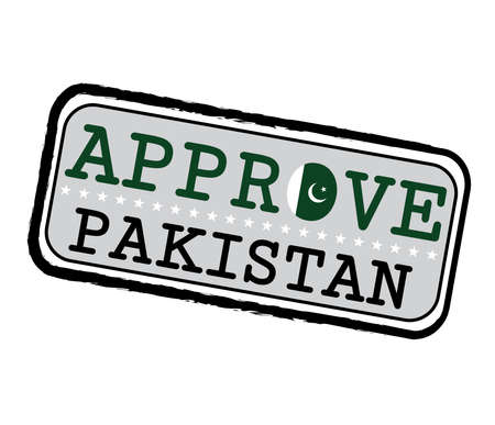 Vector Stamp for Approve with Pakistani Flag in the shape of O and text Pakistan. Grunge Rubber Texture Stamp of Approve from Pakistan.