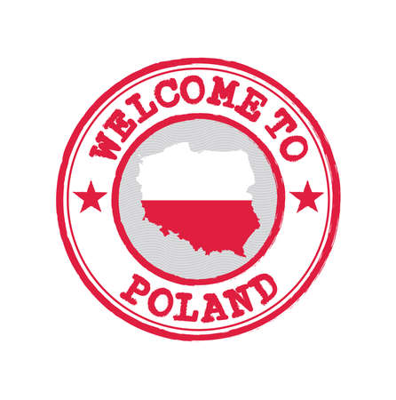 Vector stamp of welcome to Poland with map outline of the Polska in center. Grunge Rubber Texture Stamp of welcome to Poland.