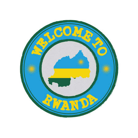 Vector stamp of welcome to Rwanda with map outline of the nation in center. Grunge Rubber Texture Stamp of welcome to Rwanda.