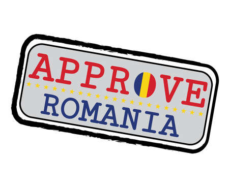 Vector Stamp for Romanian Flag in the shape of O and text Romania. Grunge Rubber Texture Stamp of Approve from Romania. Ilustração