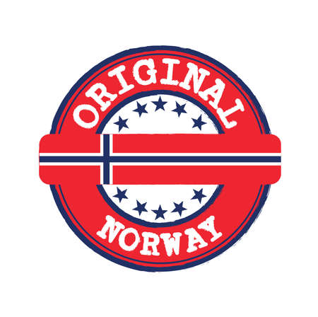 Vector Stamp for Norway and Tying in the middle with nation Flag. Grunge Rubber Texture Stamp of Original from Norway.