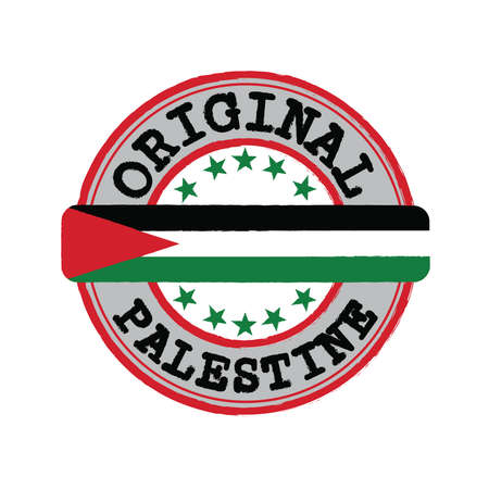 Vector Stamp for Palestine and Tying in the middle with nation Flag. Grunge Rubber Texture Stamp of Original from Palestine.