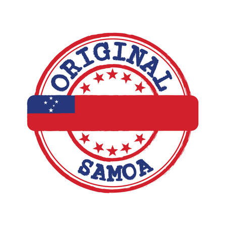 Vector Stamp for Samoa and Tying in the middle with nation Flag. Grunge Rubber Texture Stamp of Original from Samoa.