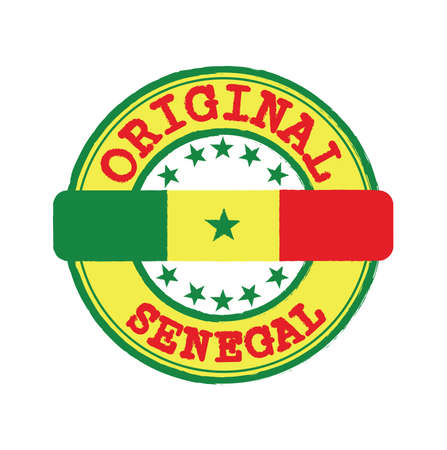 Vector Stamp of Senegal and Tying in the middle with nation Flag. Grunge Rubber Texture Stamp of Original from Senegal.