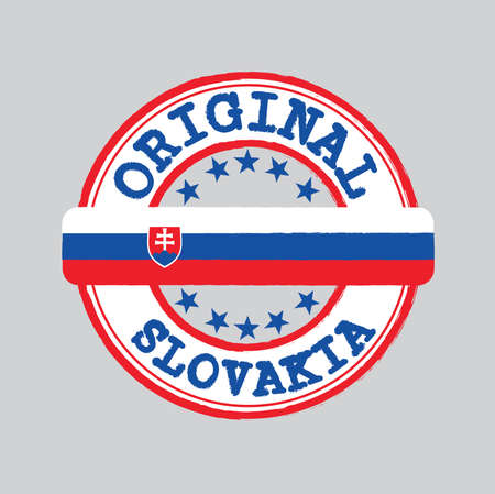 Vector Stamp of Slovakia and Tying in the middle with nation Flag. Grunge Rubber Texture Stamp of Original from Slovakia.