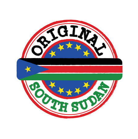 Vector Stamp of South Sudan and Tying in the middle with nation Flag. Grunge Rubber Texture Stamp of Original from South Sudan.