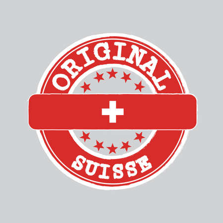 Vector Stamp of Suisse and Tying in the middle with Swiss Flag. Grunge Rubber Texture Stamp of Original from Switzerland.