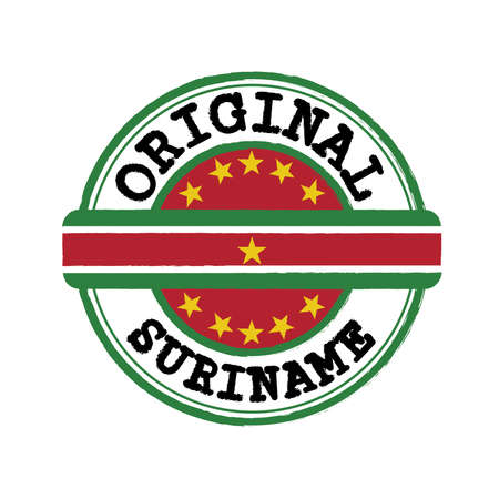 Vector Stamp of Suriname and Tying in the middle with nation Flag. Grunge Rubber Texture Stamp of Original from Suriname.