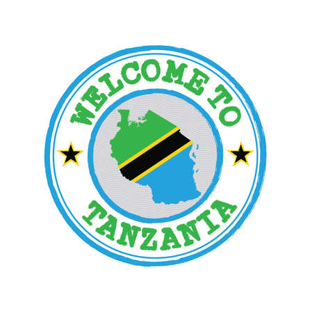 Vector stamp of welcome to Tanzania with map outline of the nation in center. Grunge Rubber Texture Stamp of welcome to Tanzania. Vetores