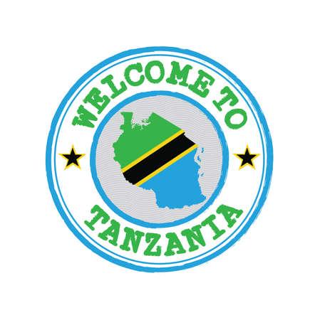 Vektorstempel des Willkommens in Tansania mit Kartenumriss der Nation im Zentrum. Grunge Rubber Texture Stempel Willkommen in Tansania. Vektorgrafik