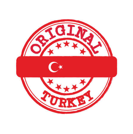 Vector Stamp of Original  with text Turkey and Tying in the middle with nation Flag. Grunge Rubber Texture Stamp of Original from Turkey. 矢量图像