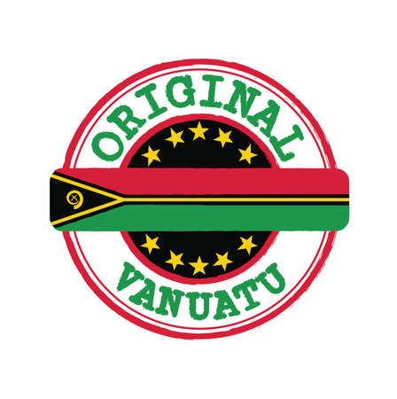Vector Stamp of Original with text Vanuatu and Tying in the middle with nation Flag. Grunge Rubber Texture Stamp of Original from Vanuatu.