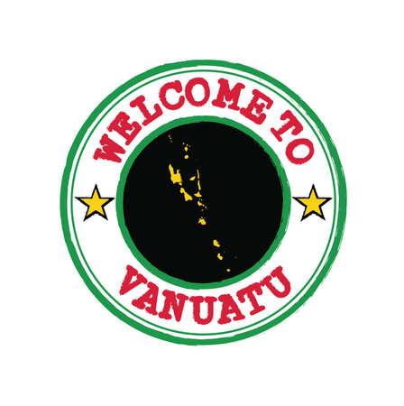 Vector stamp of welcome to Vanuatu with map outline of the nation in center. Grunge Rubber Texture Stamp of welcome to Vanuatu. Vektoros illusztráció