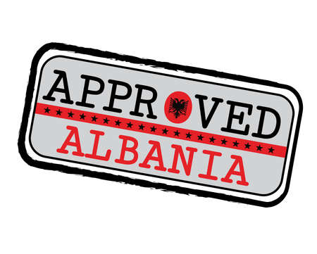 Vector Stamp of Approved with Albanian Flag in the shape of O and text Albania. Grunge Rubber Texture Stamp of Approved from Albania.  イラスト・ベクター素材