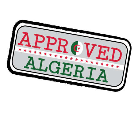 Vector Stamp of Approved  with Algerian Flag in the shape of O and text Algeria. Grunge Rubber Texture Stamp of Approved from Algeria. Illustration
