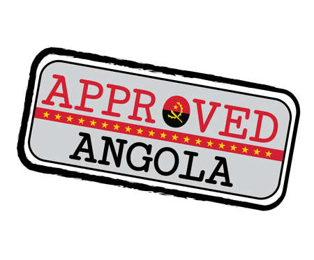 Vector Stamp of Approved  with Angola Flag in the shape of O and text Angola. Grunge Rubber Texture Stamp of Approved from Angola. Ilustração