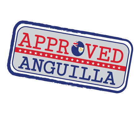 Vector Stamp of Approved  with Anguilla Flag in the shape of O and text Anguilla. Grunge Rubber Texture Stamp of Approved from Anguilla. Ilustração