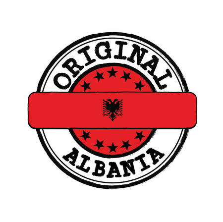 Vector Stamp of Original  with text Albania and Tying in the middle with nation Flag. Grunge Rubber Texture Stamp of Original from Albania.