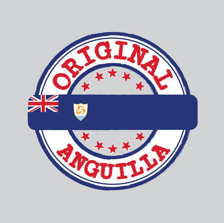 Vector Stamp of Original  with text Anguilla and Tying in the middle with nation Flag. Grunge Rubber Texture Stamp of Original from Anguilla.