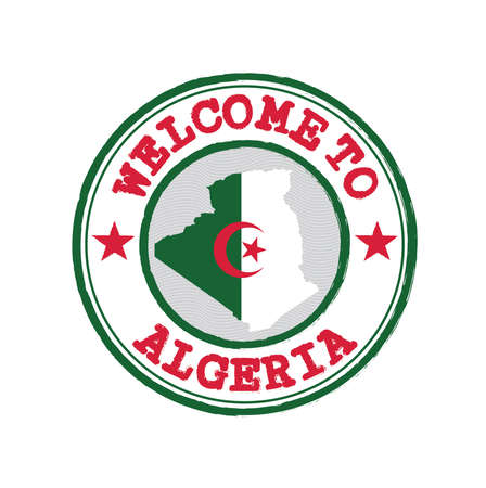 Vector stamp of welcome to Algeria with map outline of the nation in center. Grunge Rubber Texture Stamp of welcome to Algeria.