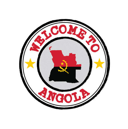 Vector stamp of welcome to Angola with map outline of the nation in center. Grunge Rubber Texture Stamp of welcome to Angola. Ilustração