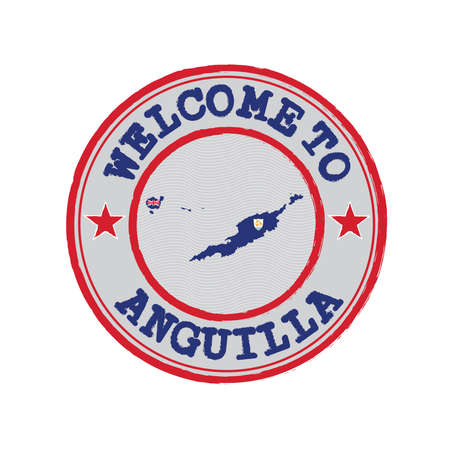 Vector stamp of welcome to Anguilla with map outline of the nation in center. Grunge Rubber Texture Stamp of welcome to Anguilla.