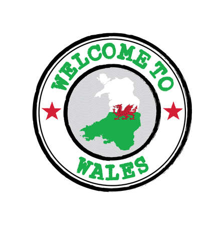 Vector stamp of welcome to Wales  with map outline of the nation in center. Grunge Rubber Texture Stamp of welcome to Wales.