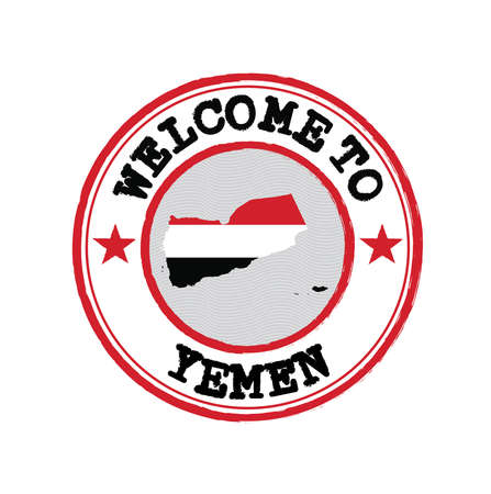Vector stamp of welcome to Yemen with map outline of the nation in center. Grunge Rubber Texture Stamp of welcome to Yemen.