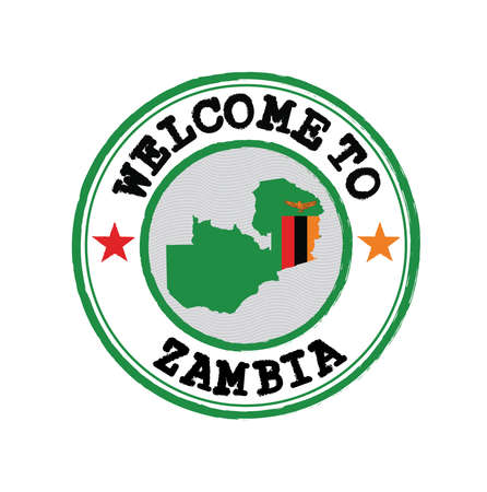 Vector stamp of welcome to Zambia with map outline of the nation in center. Grunge Rubber Texture Stamp of welcome to Zambia.