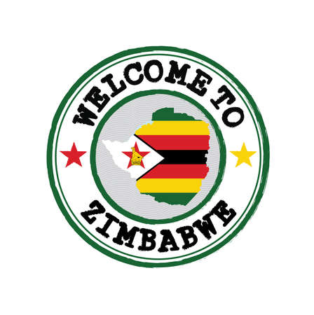 Vector stamp of welcome to Zimbabwe with map outline of the nation in center. Grunge Rubber Texture Stamp of welcome to Zimbabwe.