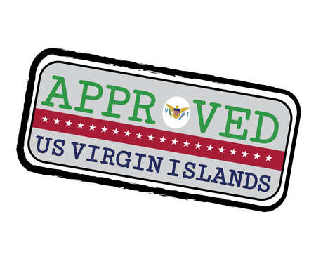 Vector Stamp of Approved  with Virgin Islands Flag in the shape of O and text US Virgin Islands. Grunge Rubber Texture Stamp of Approved from Virgin Islands.