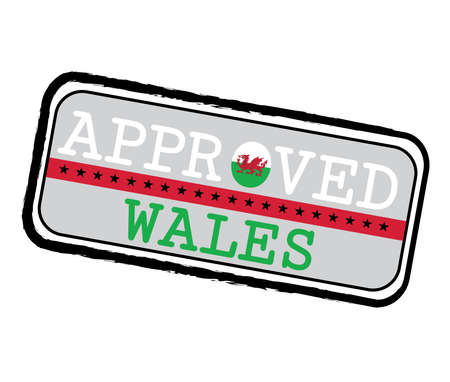 Vector Stamp of Approved  with Wales Flag in the shape of O and text Wales. Grunge Rubber Texture Stamp of Approved from Wales. Ilustração