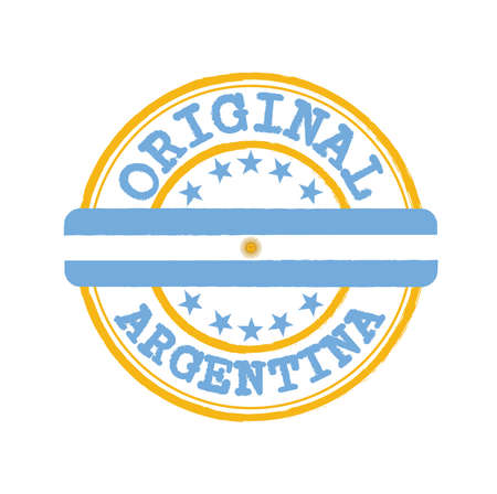 Vector Stamp of Original   with text Argentina and Tying in the middle with nation Flag. Grunge Rubber Texture Stamp of Original from Argentina.
