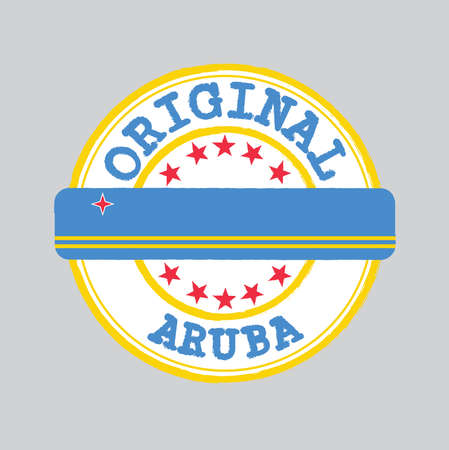 Vector Stamp of Original  with text Aruba and Tying in the middle with nation Flag. Grunge Rubber Texture Stamp of Original from Aruba.