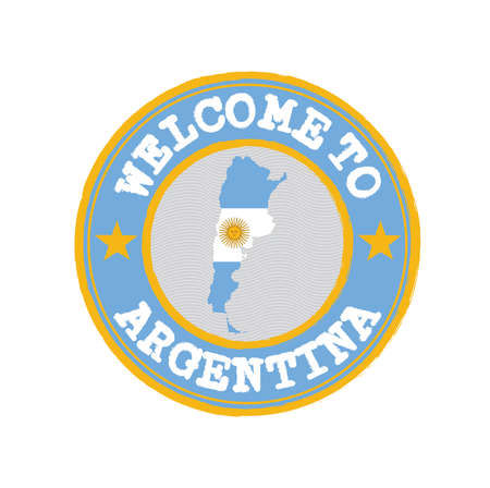 Vector stamp of welcome to Argentina with map outline of the nation in center. Grunge Rubber Texture Stamp of welcome to Argentina. Ilustração