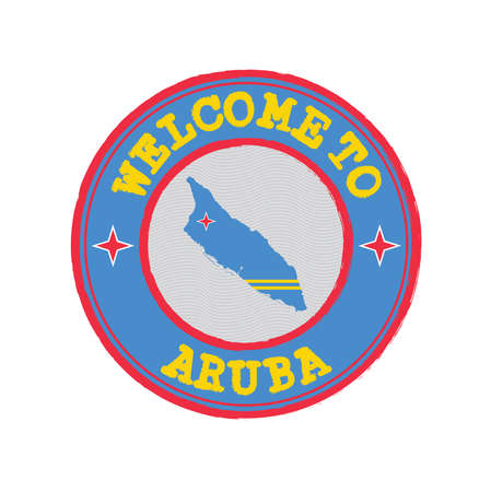Vector stamp of welcome to Aruba with map outline of the nation in center. Grunge Rubber Texture Stamp of welcome to Aruba. Ilustração