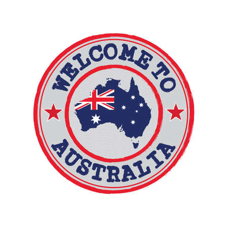 Vector stamp of welcome to Australia with map outline of the nation in center. Grunge Rubber Texture Stamp of welcome to Australia.