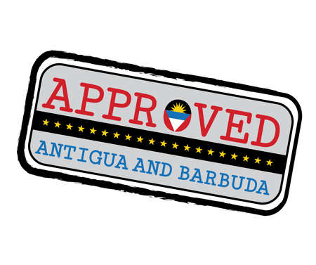 Vector Stamp of Approved with Antigua Flag in the shape of O and text Antigua and Barbuda. Grunge Rubber Texture Stamp of Approved from Antigua and Barbuda.