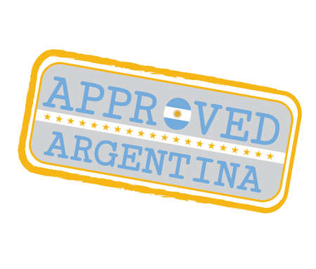 Vector Stamp of Approved with Argentina Flag in the shape of O and text Argentina. Grunge Rubber Texture Stamp of Approved from Argentina.