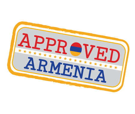 Vector Stamp of Approved with Armenian Flag in the shape of O and text Armenia. Grunge Rubber Texture Stamp of Approved from Armenia. Ilustração