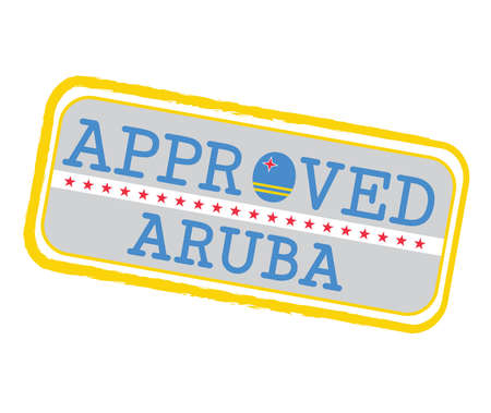 Vector Stamp of Approved with Aruba Flag in the shape of O and text Aruba. Grunge Rubber Texture Stamp of Approved from Aruba. Ilustração