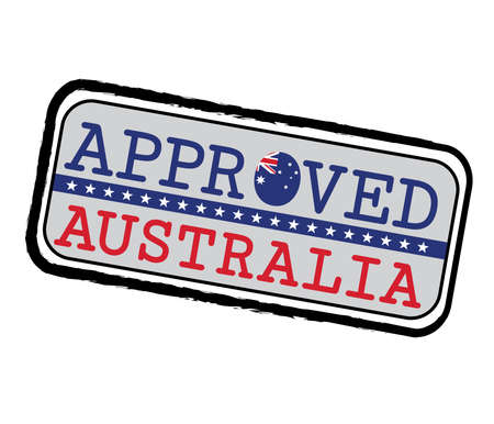 Vector Stamp of Approved with Australian Flag in the shape of O and text Australia. Grunge Rubber Texture Stamp of Approved from Australia. Ilustração