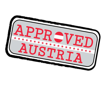 Vector Stamp of Approved  with Austrian Flag in the shape of O and text Austria. Grunge Rubber Texture Stamp of Approved from Austria. Ilustração