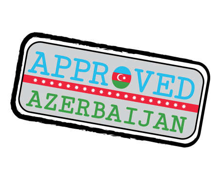 Vector Stamp of Approved  with Azerbaijan Flag in the shape of O and text Azerbaijan. Grunge Rubber Texture Stamp of Approved from Azerbaijan. Ilustração