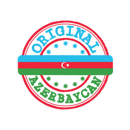 Vector Stamp of Original  with text Azerbaycan (Azerbaijan in Turkish language) and Tying in the middle with nation Flag. Grunge Rubber Texture Stamp of Original from Azerbaijan.