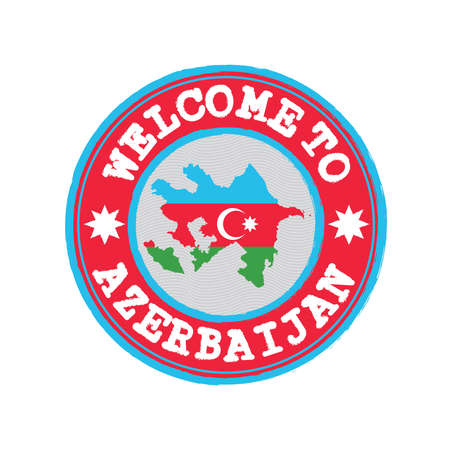 Vector stamp of welcome to Azerbaijan with map outline of the nation in center. Grunge Rubber Texture Stamp of welcome to Azerbaijan.
