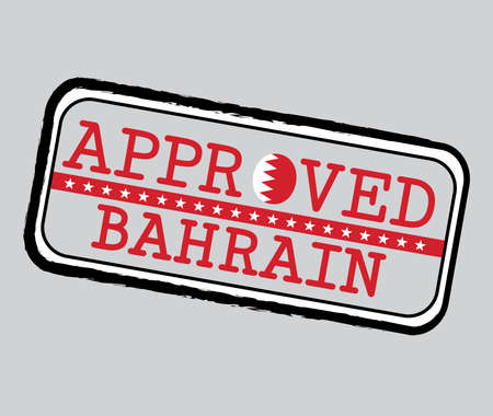 Vector Stamp of Approved  with Bahraini Flag in the shape of O and text Bahrain. Grunge Rubber Texture Stamp of Approved from Bahrain.