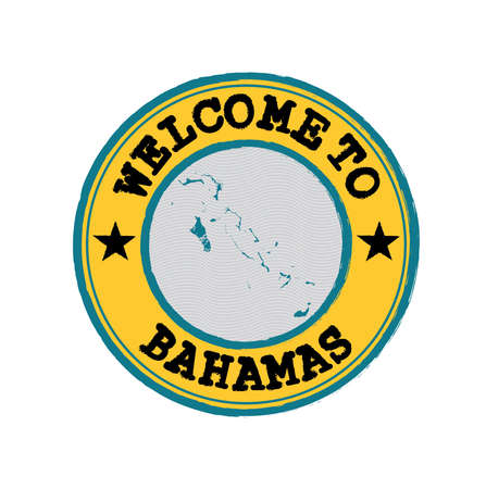 Vector stamp of welcome to Bahamas with map outline of the nation in center. Grunge Rubber Texture Stamp of welcome to Bahamas.