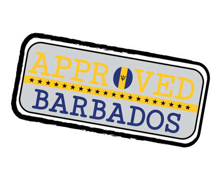 Vector Stamp of Approved  with Barbados Flag in the shape of O and text Barbados. Grunge Rubber Texture Stamp of Approved from Barbados. Ilustração