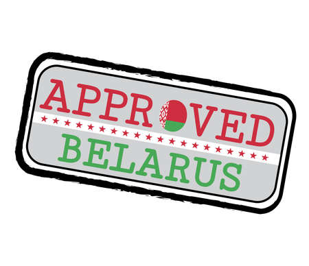 Vector Stamp of Approved  with Belarus Flag in the shape of O and text Belarus. Grunge Rubber Texture Stamp of Approved from Belarus. Ilustração